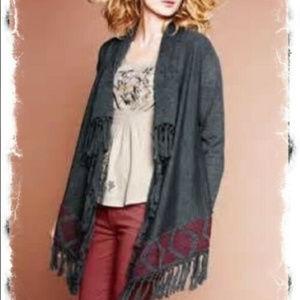 Garnet Hill S M Gray Wool Fringe Cardigan sweater